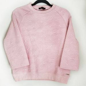 BCBG quilted 3/4 sleeve sweatshirt pink size small